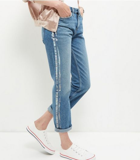 Blue Metallic Stripe Straight Leg Jeans  | New Look