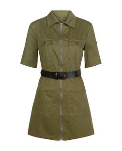 Cameo Rose Khaki Belted Zip Front Shirt Dress | New Look