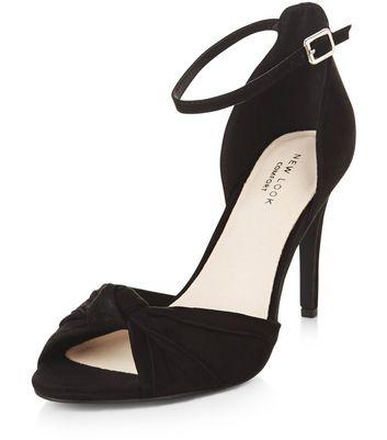 Sandalo  donna Black Comfort Knotted Front Ankle Strap Heels