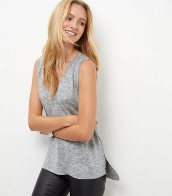 Silver Metallic V Neck Vest