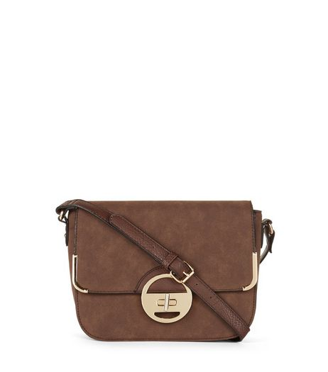 Brown Twist Lock Shoulder Bag | New Look