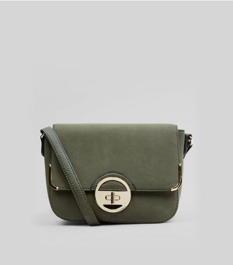 Khaki Suedette Twist Lock Shoulder Bag | New Look