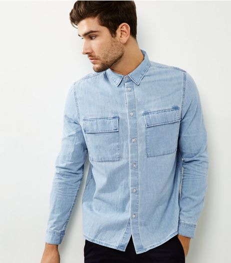Blue Denim Double Pocket Long Sleeve Shirt | New Look