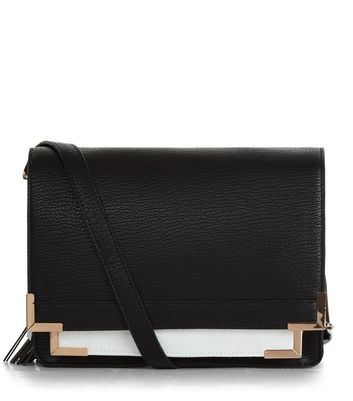 Black Contrast Square Satchel