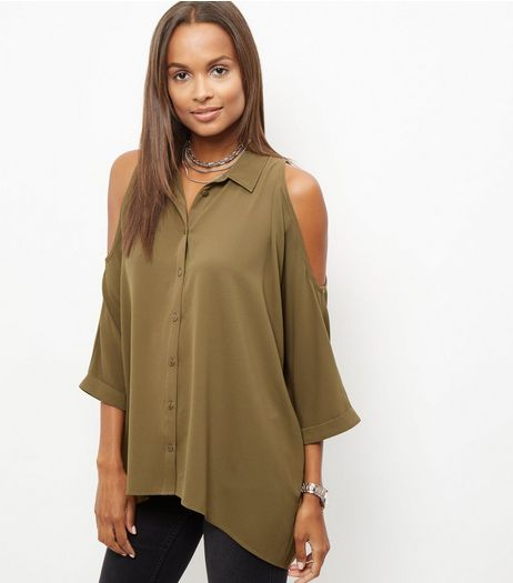 Khaki Cold Shoulder Shirt | New Look