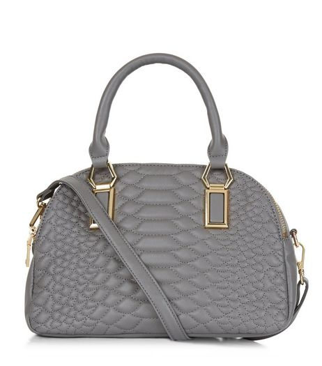 Grey Snakeskin Texture Quilted Bowler Bag | New Look