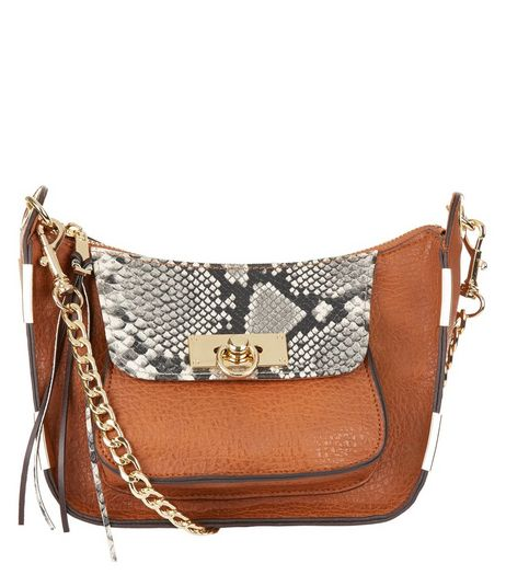 Tan Snakeskin Print Chain Shoulder Bag | New Look
