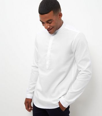 White Textured Button Front Grandad Collar Shirt
