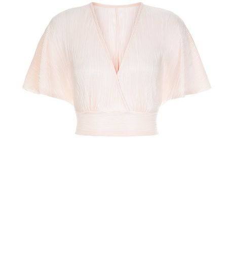 Cameo Rose Shell Pink Pleated Flutter Sleeve Crop Top | New Look
