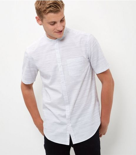 White Slub Grandad Collar Short Sleeve Shirt  | New Look