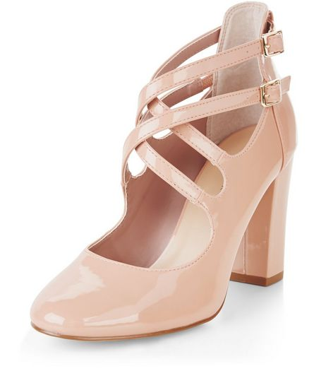 Pink Patent Multi Strap Court Shoes  | New Look