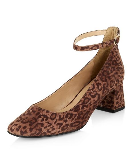 Wide Fit Stone Leopard Print Suedette Heeled Sandals | New Look