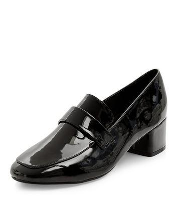 Mocassini  donna Black Patent Block Heel Loafers
