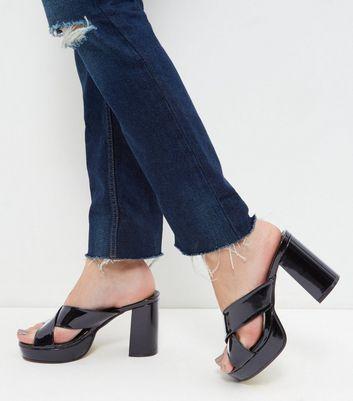 Sandalo  donna Black Patent Cross Strap Mules