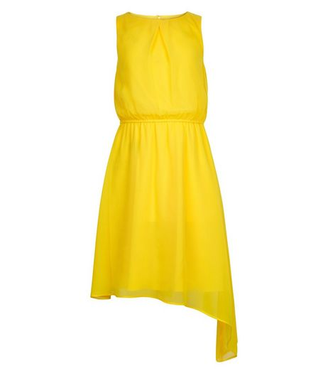 Teens Yellow Chiffon Asymmetric Dress  | New Look