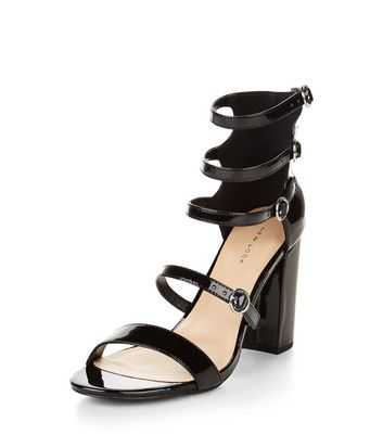 Sandalo  donna Black Multi Strap Block Heel Sandals