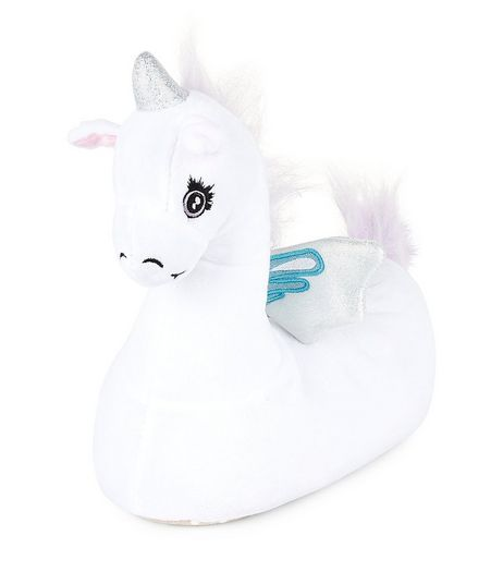 Teens White Holographic Unicorn Slippers | New Look