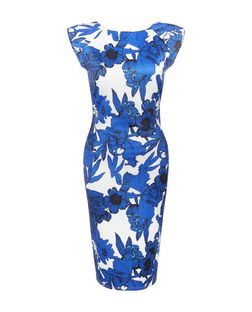AX Paris Blue Floral Print Cap Sleeve Midi Dress | New Look