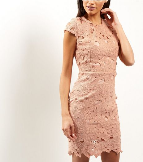 AX Paris Shell Pink Crochet Lace Cap Sleeve Midi Dress | New Look