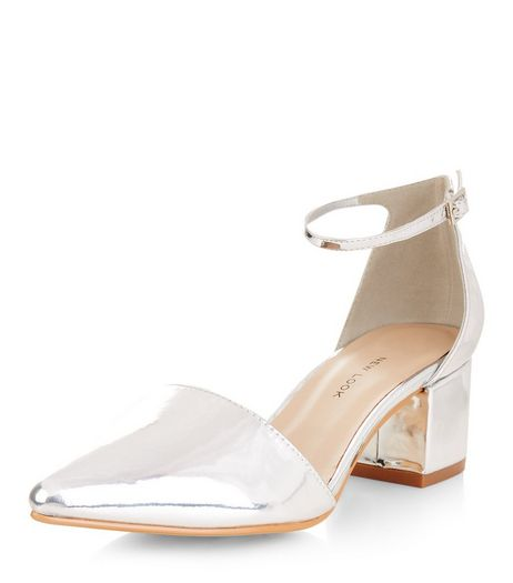 Wide Fit Silver Pointed Block Heels  | New Look