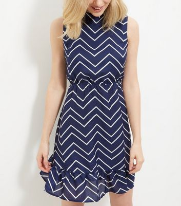 Mela Blue Zig Zag Print Frill Hem Sleeveless Dress