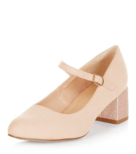 Wide Fit Pink Strap Front Glitter Block Heels | New Look