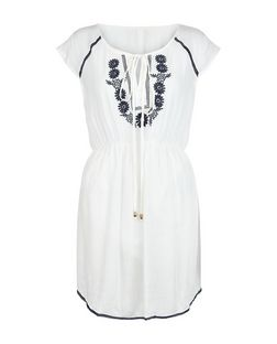 Blue Vanilla White Embroidered Cap Sleeve Dress | New Look