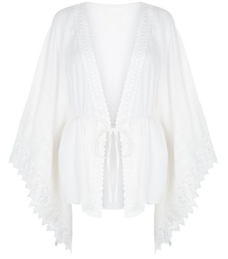 Blue Vanilla White Crochet Trim Kaftan | New Look
