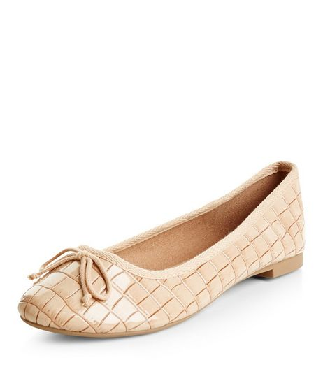 Cream Croc Texture Ballet Pumps  | New Look