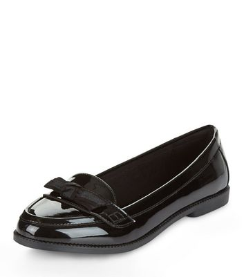 Mocassini  donna Black Patent Bow Front Loafers