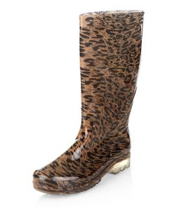 Stone Leopard Print Calf High Wellies  | New Look