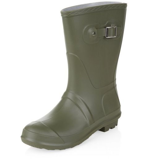 Khaki Calf High Wellies  | New Look