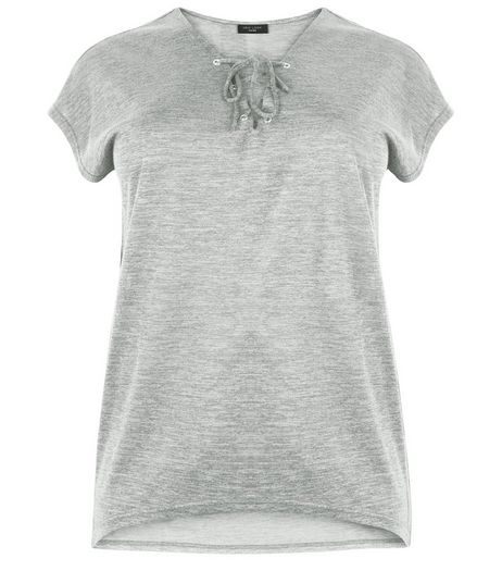 Curves Grey Fine Knit Lace Up Top  | New Look