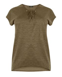 Curves Khaki Fine Knit Lace Up Top | New Look