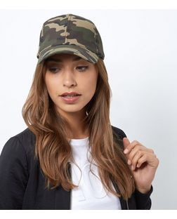 Khaki Camo Print Cap | New Look
