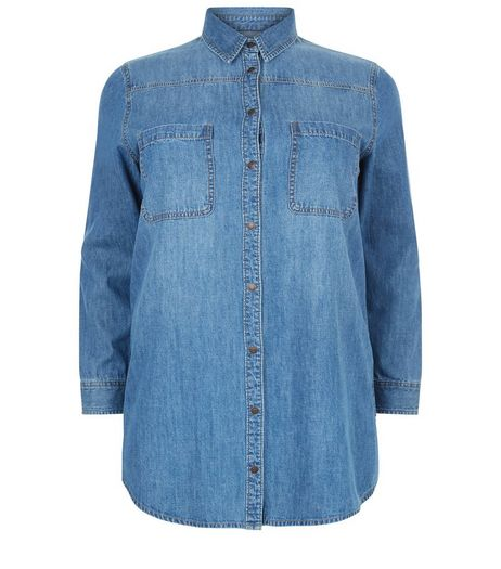 Curves Blue Long Sleeve Denim Shirt | New Look