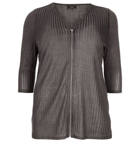 Curves Grey Zip Front 3/4 Sleeve Top | New Look