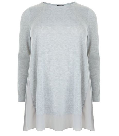 Curves Grey Chiffon Trim Long Sleeve Top | New Look
