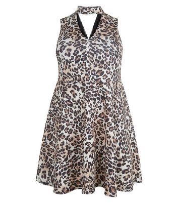 Curves Brown Animal Print Cut Out Skater Dress