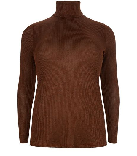 Curves Tan Metallic Ribbed Turtle Neck Long Sleeve Top  | New Look