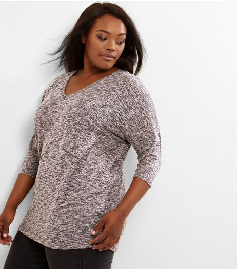 Curves Pink V Neck Brushed Top | New Look