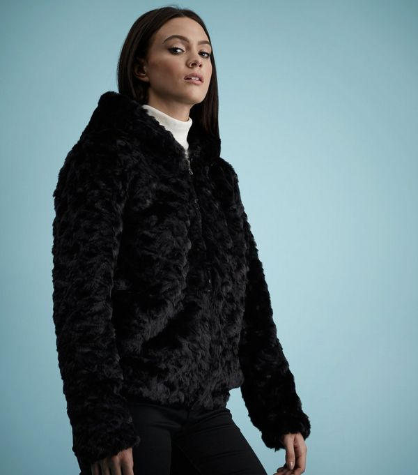 Black Faux Fur Hooded Jacket