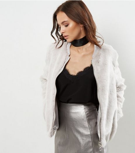 Grey Faux Fur Zip Front Bomber Jacket | New Look