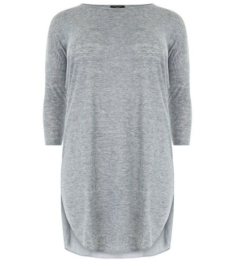 Curves Grey Chiffon Back Longline Top | New Look