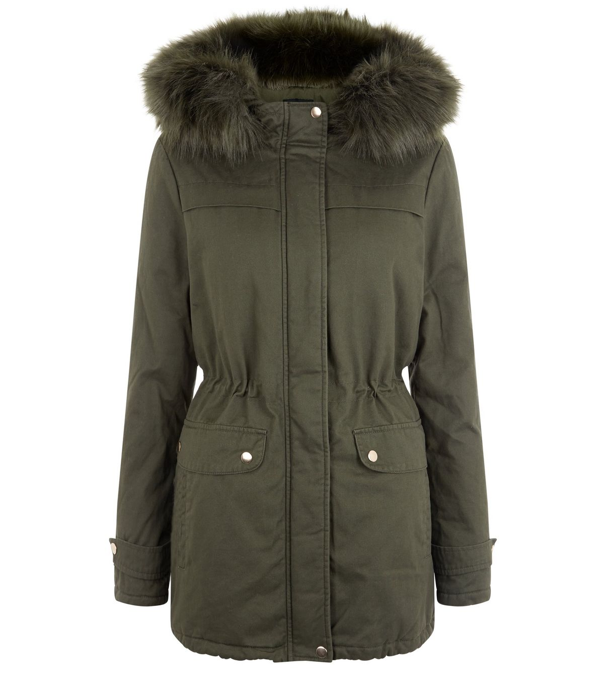 Khaki Faux Fur Trim Hooded Parka  | New Look