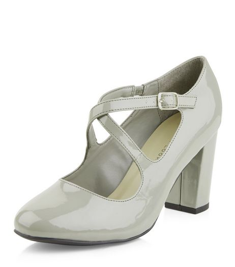 Wide Fit Grey Patent Cross Strap Block Heels  | New Look