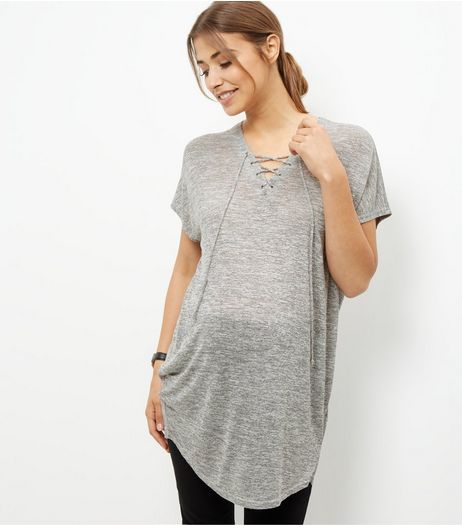 Maternity Grey Lace Up Top | New Look