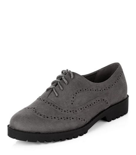 Wide Fit Grey Suedette Chunky Brogues  | New Look