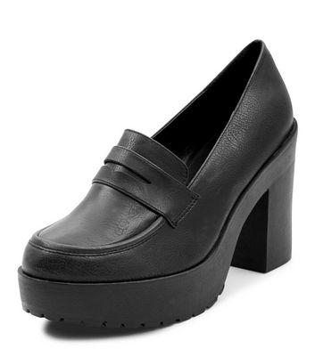 Mocassini  donna Black Chunky Loafer Block Heels