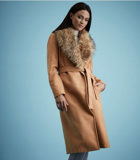 Tan Faux Fur Collar Wrap Front Maxi Coat  | New Look